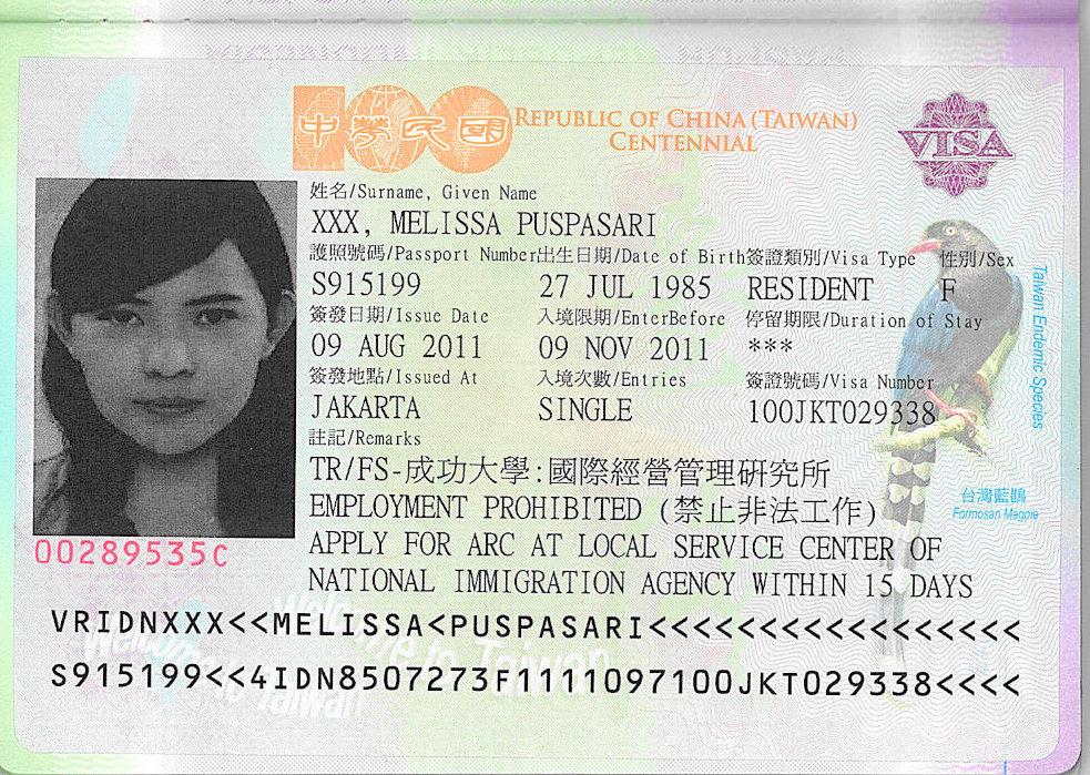 visa vào đài loan